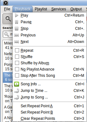 Audacious Playback menu